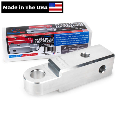 "GearAmerica Billet Aluminum Ultra Hitch Receiver Shackle Mount 2"" x 2"" (Silver) - Made in USA"