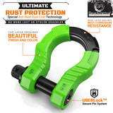 UBER SHACKLES WITH ANTI THEFT LOCK - GREEN (2PK) | 80,000 LBS MBC (20,000 LBS WLL)
