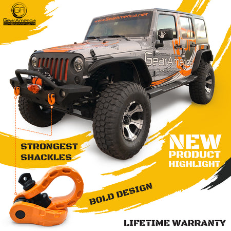 Mega Shackles - Orange (2PK) | 68,000 lbs MBC (17,000 lbs WLL) | Off-Road Recovery Anchor Points