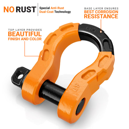 Mega Shackles - Orange (2PK) | 68,000 lbs MBS (17,000 lbs WLL) | Off-Road Recovery Anchor Points
