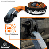 "Heavy Duty Tow Strap 3""x20' + Tree Saver Winch Strap 3""x8' Value Bundle (2 Pack)"