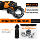 GearAmerica UBER Shackles with Anti-Theft Lock (Black) | 80,000 lb (40T) MBS & 20,000 lb (10T) WLL