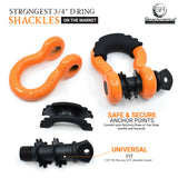 Heavy Duty D Ring Shackles - Orange with Isolators (2PK) | 58,000 lbs (29 US Ton) Max Strength