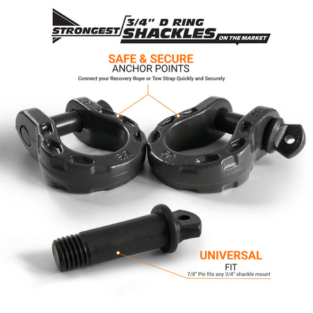 Mega Shackles - Gray (2PK) | 68,000 lbs MBC (17,000 lbs WLL) | Off-Road Recovery Anchor Points