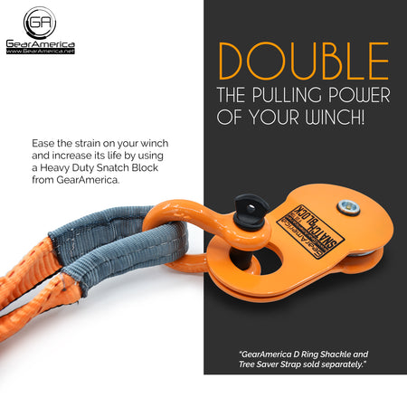 Snatch Block (9 US Ton) | Double your Winch Capacity and Control Direction of the Pull