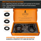 UBER D Rings - Black (2PK) with AntiTheft UBERLock System | 80,000 lbs MBC (20,000 lbs WLL)