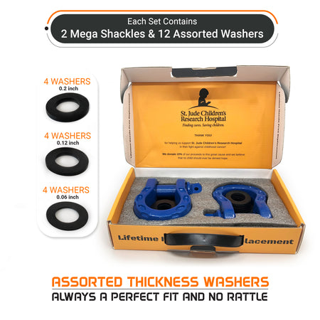Mega Shackles - Blue (2PK) | 68,000 lbs (34 Ton) Max Strength