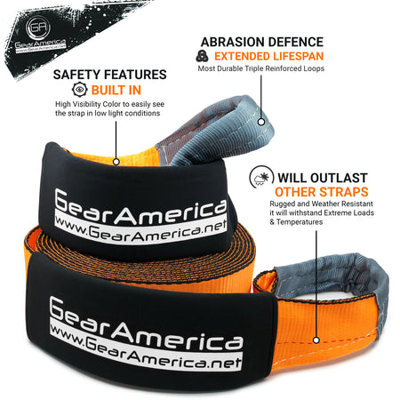 "(2 Pack) Mega Duty Recovery Tow Strap 4"" x 30' 