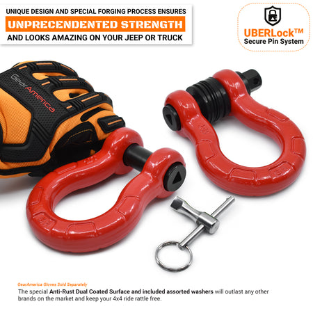 UBER D Rings - Red (2PK) with AntiTheft UBERLock System | 80,000 lbs MBC (20,000 lbs WLL)