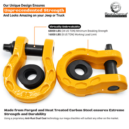 Mega Shackles - Yellow (2PK) | 68,000 lbs (34 Ton) Max Strength