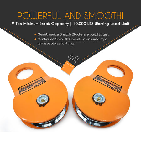 2 PK Snatch Block (9 US Ton) | Double your Winch Capacity and Control Direction of the Pull