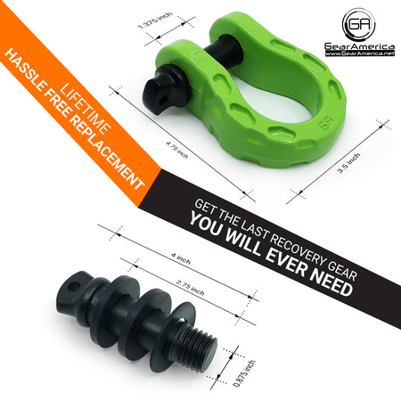Mega Shackles - Green (2PK) | 68,000 lbs MBC (17,000 lbs WLL) | Off-Road Recovery Anchor Points