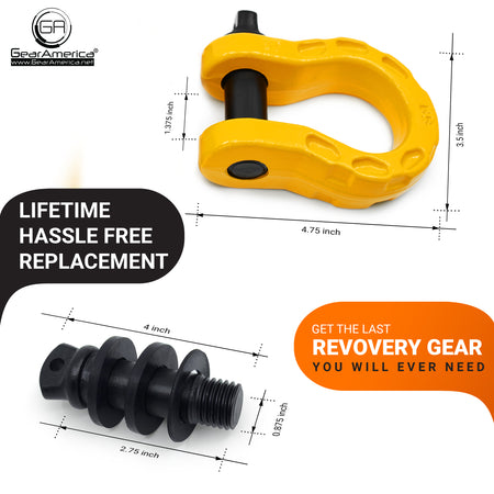 Mega Shackles - Yellow (2PK) | 68,000 lbs MBC (17,000 lbs WLL) | Off-Road Recovery Anchor Points