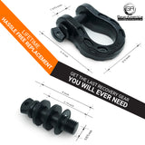 Mega Shackles - Black (2PK) | 68,000 lbs MBC (17,000 lbs WLL) | Off-Road Recovery Anchor Points