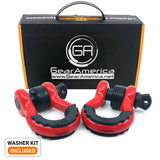 Heavy Duty D Ring Shackles - Red with Isolators (2PK) | 58,000 lbs (29 US Ton) Max Strength