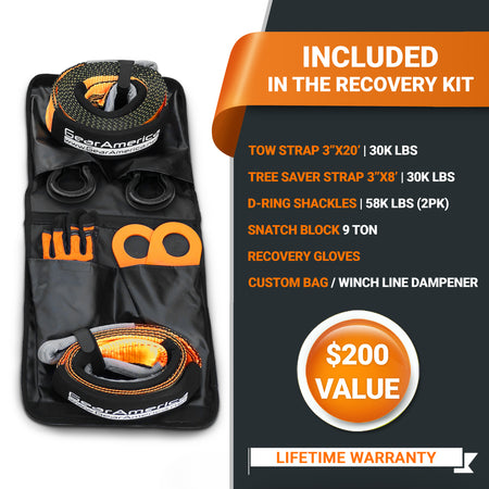 Ultimate Winching & Rigging Off-Road Recovery Kit (Black D Rings) | Essential 4x4 Accessories