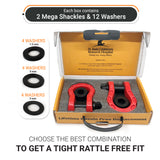 Mega Duty D Ring Shackles - Red (2PK) | 68,000 lbs (34 Ton) Max Strength