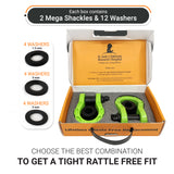 Mega Shackles - Green (2PK) | 68,000 lbs (34 Ton) Max Strength