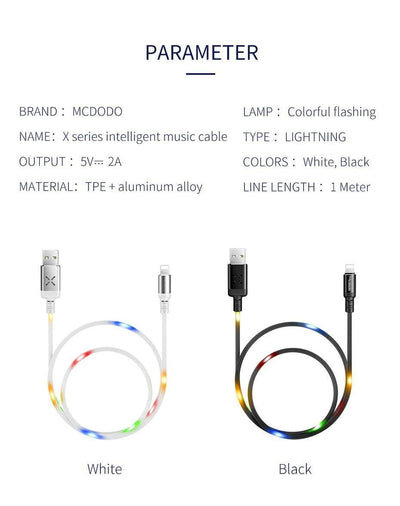 Mcdodo Worldwide Charger Worldwide / White / 1m Volume Controled Dancing LED Wire