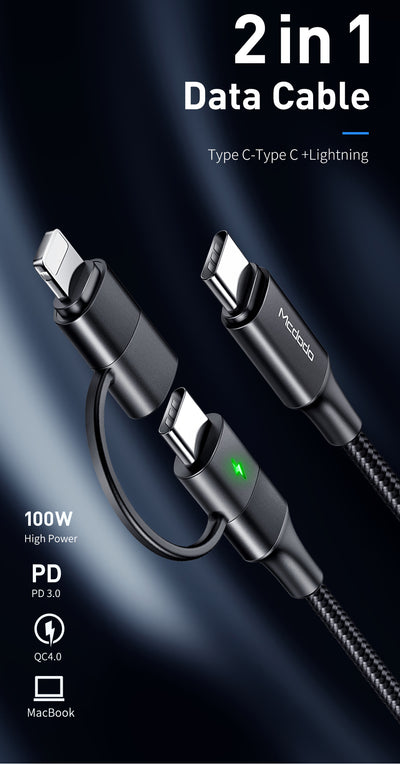 Mcdodo USB Type C Cable To USB-C PD Fast Charging and Lighting connectors in 2 in 1 - Mcdodo Worldwide