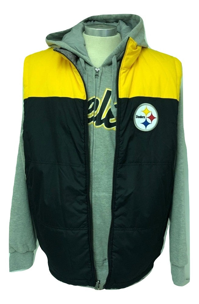 huge selection of 4bce1 0a44b Pittsburgh Steelers Men's Full Zip 5-in-1 Reversible Vest/Hoodie Combo  Jacket