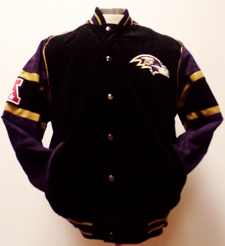 size 40 66069 baac8 Baltimore Ravens Men's Full Zip/Button Up Suede Leather ...