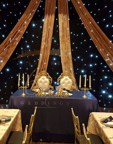 wedding decor, head table, beauty and the beast, navy blue, gold, wedding theme, wedding inspiration, be our guest, starlight backdrop, starry night backdrop, romantic wedding decor, best wedding backdrops