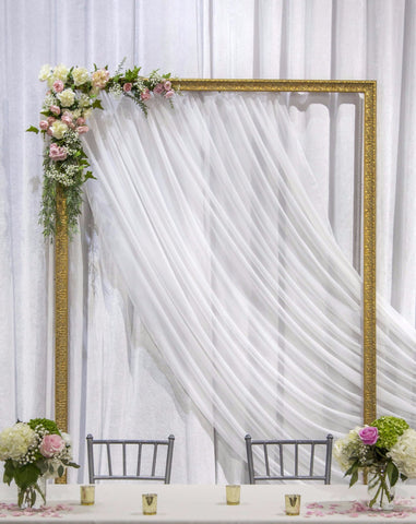 head table, wedding decor, wedding inspiration, white wedding backdrop, gold frame, hanging frame, modern wedding, wedding rental, warehouse wedding decor, decor ideas, wedding inspiration