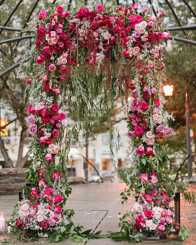 romantic floral arch, wedding decor, wedding ceremony, flowers, wedding inspiration, wedding backdrop, pink flowers, garden wedding, proposal, outdoor ceremony