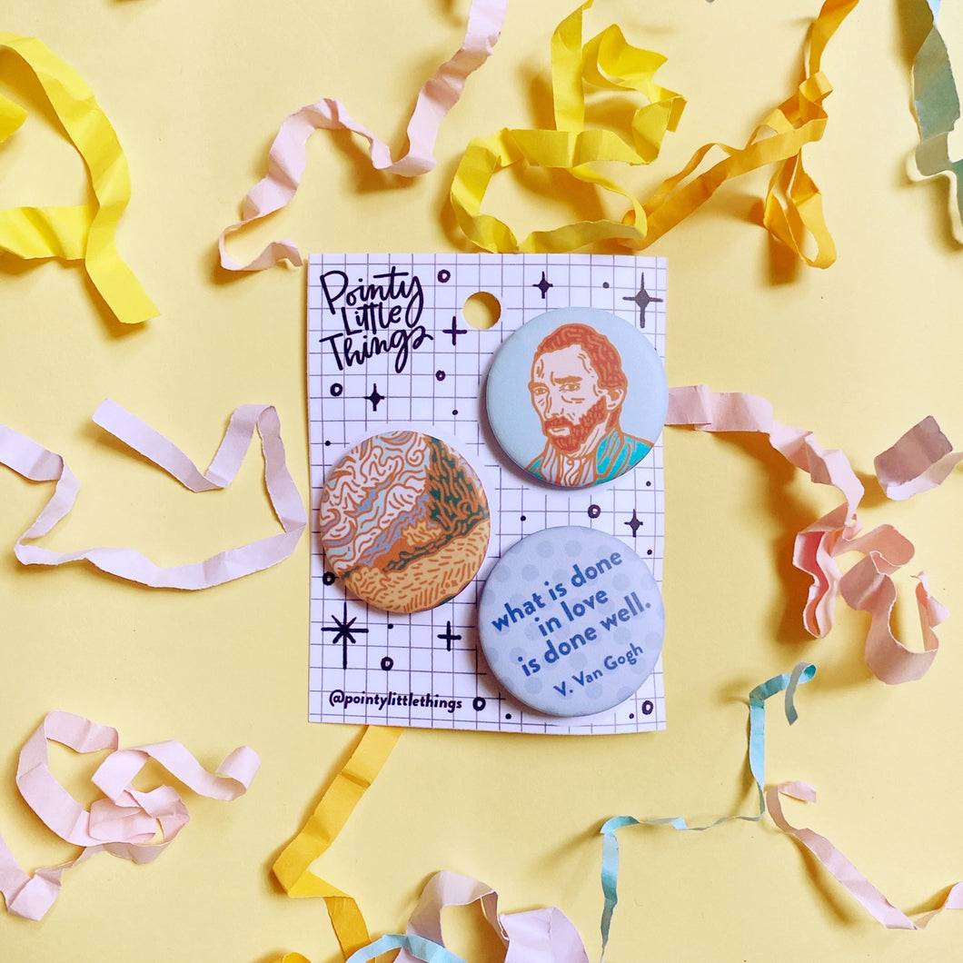 Van Gogh Button pin set