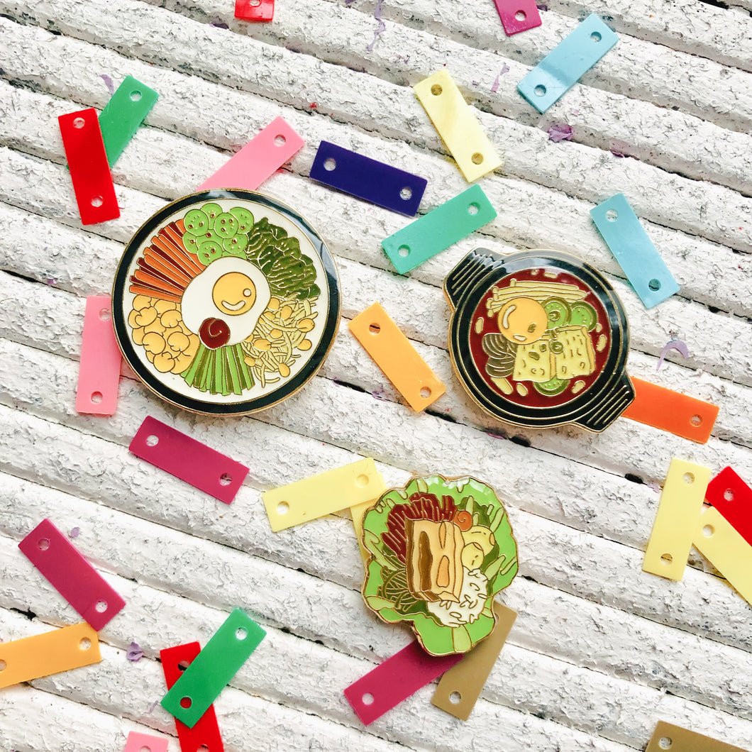 Korean Food Enamel Pin Set