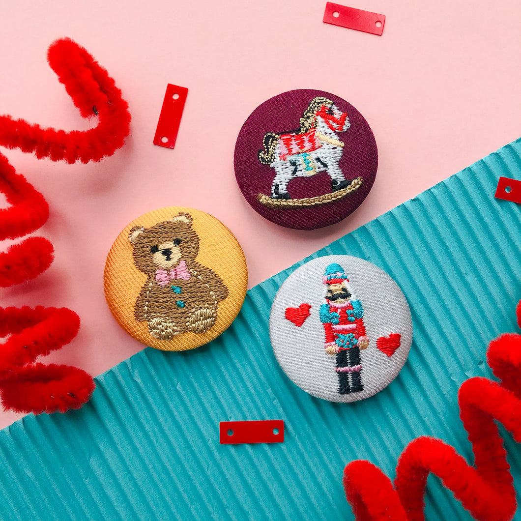 Toys Fabric Button Pin Set