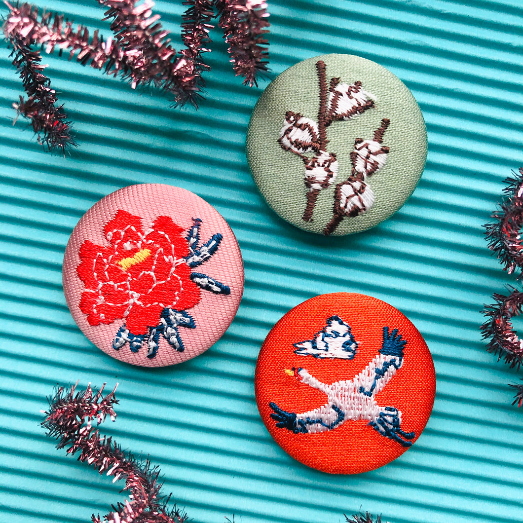 Crane, Peony, Cotton Fabric Button Pin Set