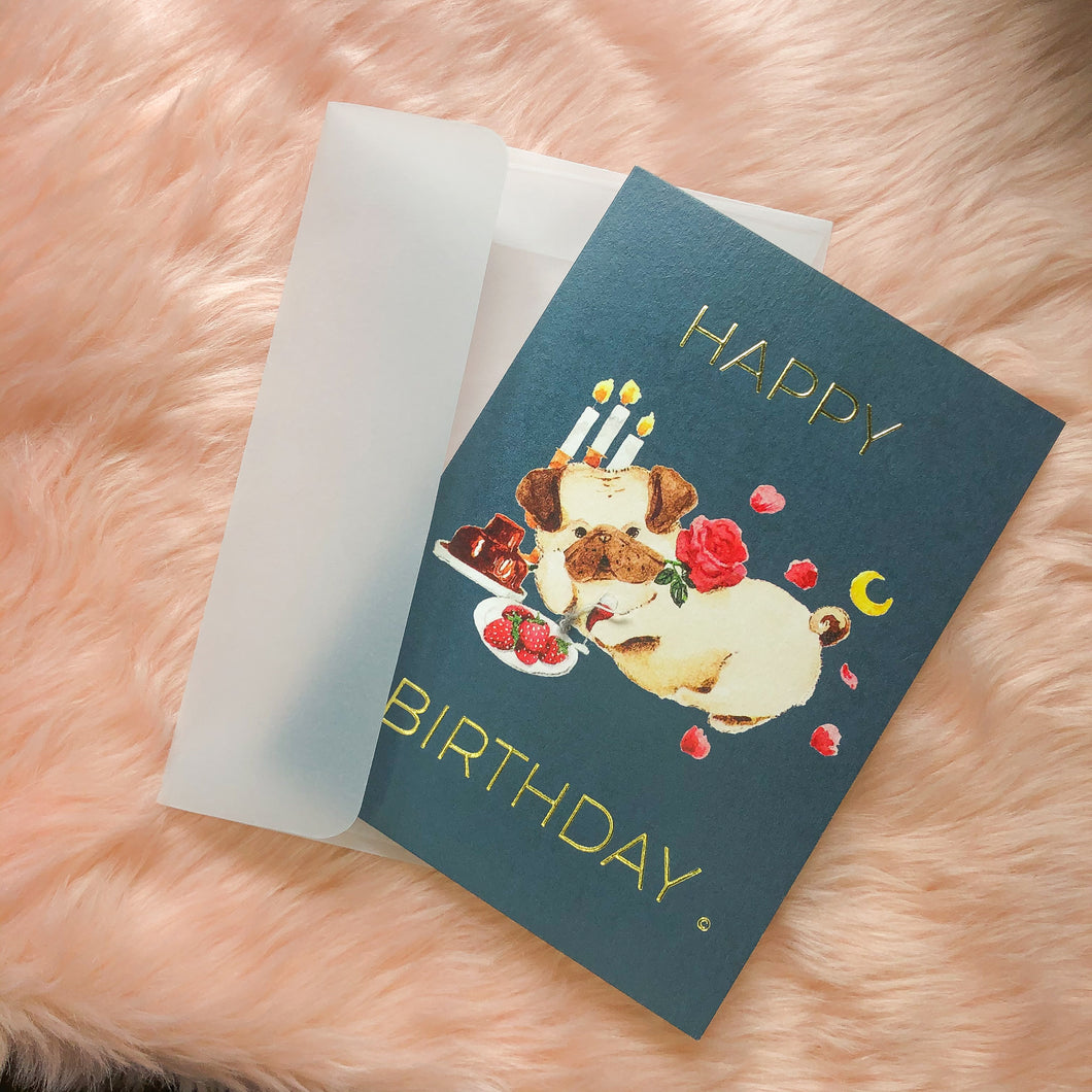 Romantic Pug HBD Card