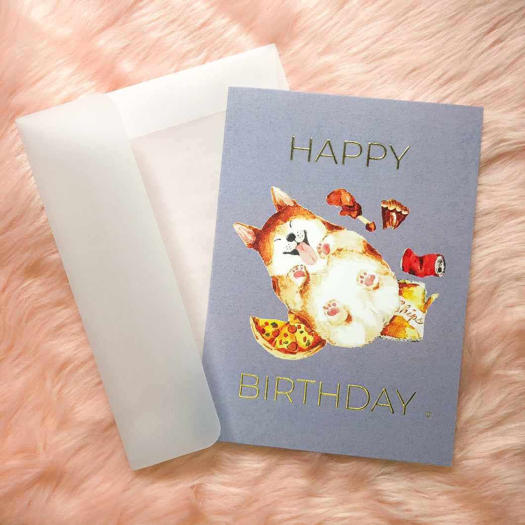 Satiated Corgi HBD Card