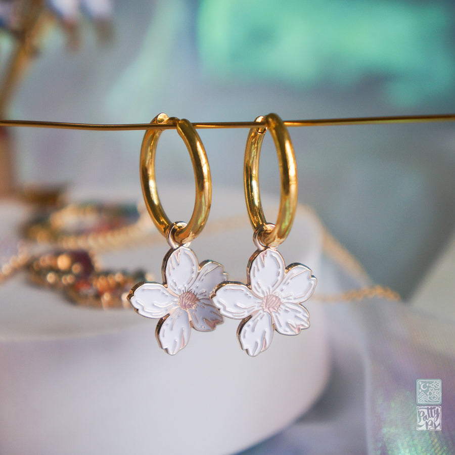 White Sakura Earrings