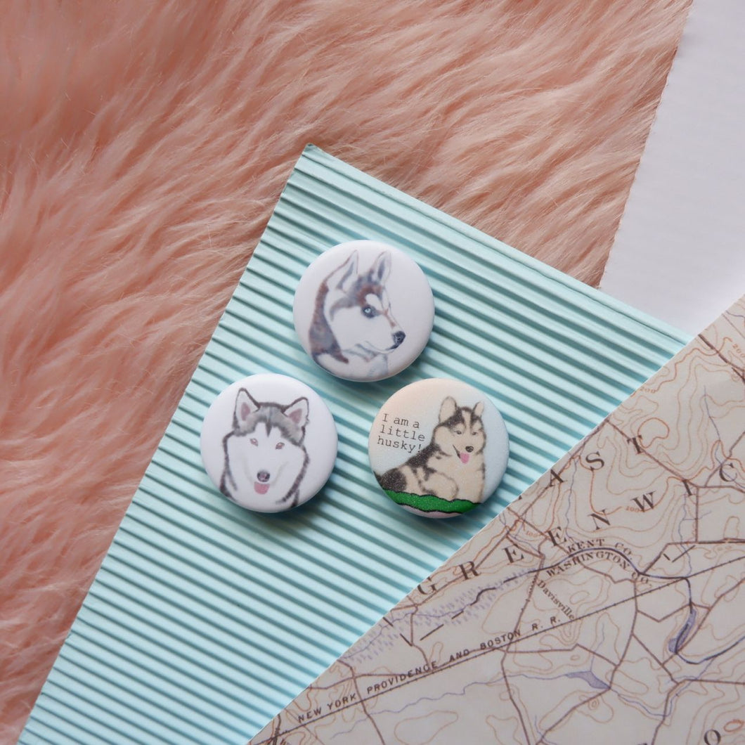 Husky Button Pin Set