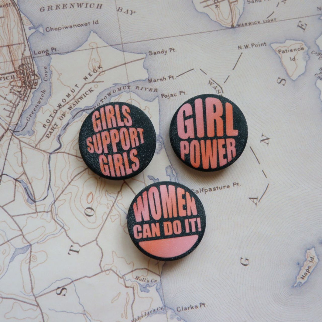Go Girl Button Pin Set
