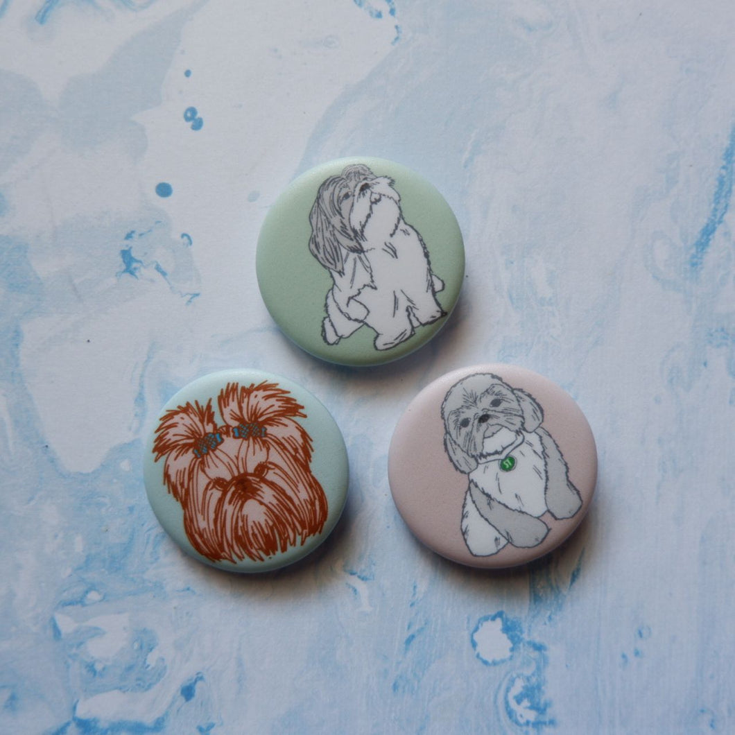 Shih Tzu Button Pin Set