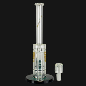 "Glass Stone - Straight Tube 12"" Slim Barrel Perc Glass Water Pipe - Teal"