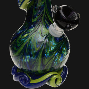 "Noble Glass - Green Wrap 12"" Soft Glass Bubble Bottom Water Pipe"