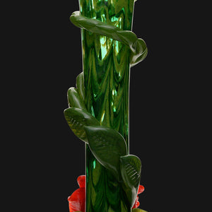 "Noble Glass - Green Flower Wrap 14"" Soft Glass Bubble Bottom Water Pipe"