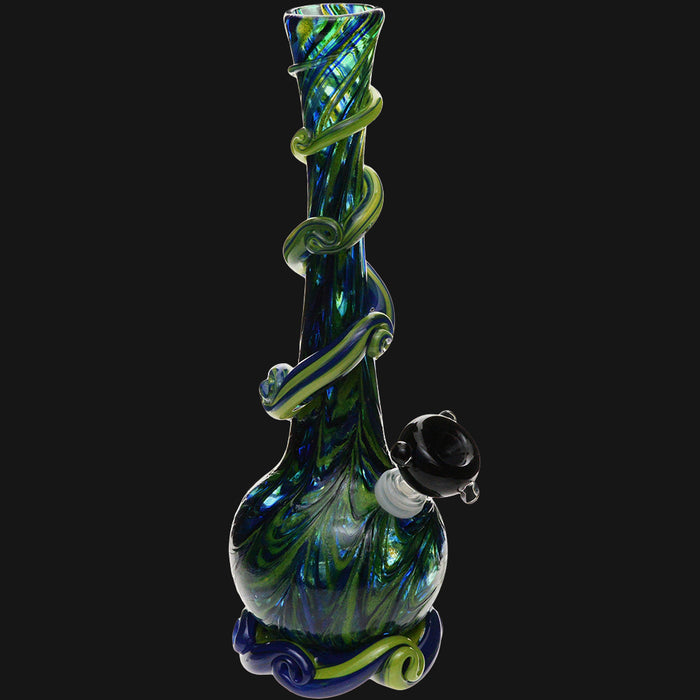 Noble Glass - Green Wrap 12-Inch Soft Glass Bubble Water Pipe