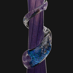 "Noble Glass - Purple Dichro Wrap 12"" Soft Glass Bubble Bottom Water Pipe"