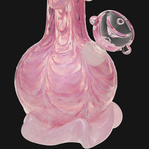 "Noble Glass - Pink Wrap 12"" Soft Glass Bubble Bottom Water Pipe"