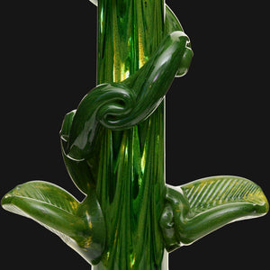 "Noble Glass - Green Leaf Wrap 14"" Soft Glass Bubble Bottom Water Pipe"