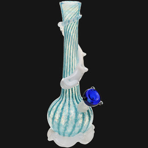 "Noble Glass - Blue Wrap 12"" Sof Glass Bubble Bottom Water Pipe"