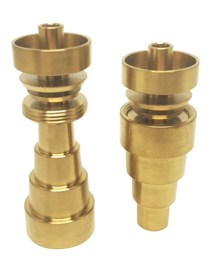 DabMove - OG Gold 6-In-1 Hollow Universal Domeless Titanium Nail - 10-14-18mm Male/ Female