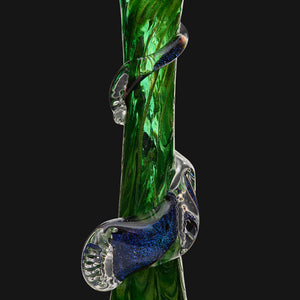 "Noble Glass - Green Dichro Wrap 12"" Soft Glass Bubble Bottom Water Pipe"