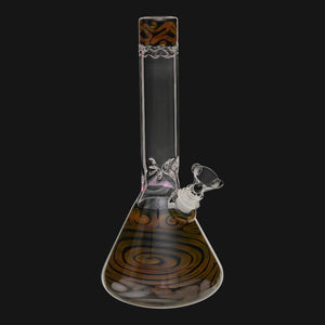 "HVY Glass - Mini 38MM Gold Coil 11"" Beaker Glass Water Pipe"